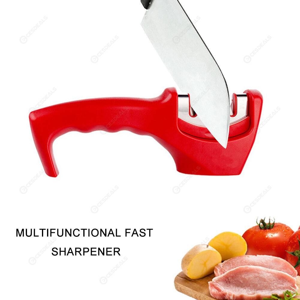 Multifunctional Sharpener 3 Stages Handheld Steel Knife Sharpener (Red)