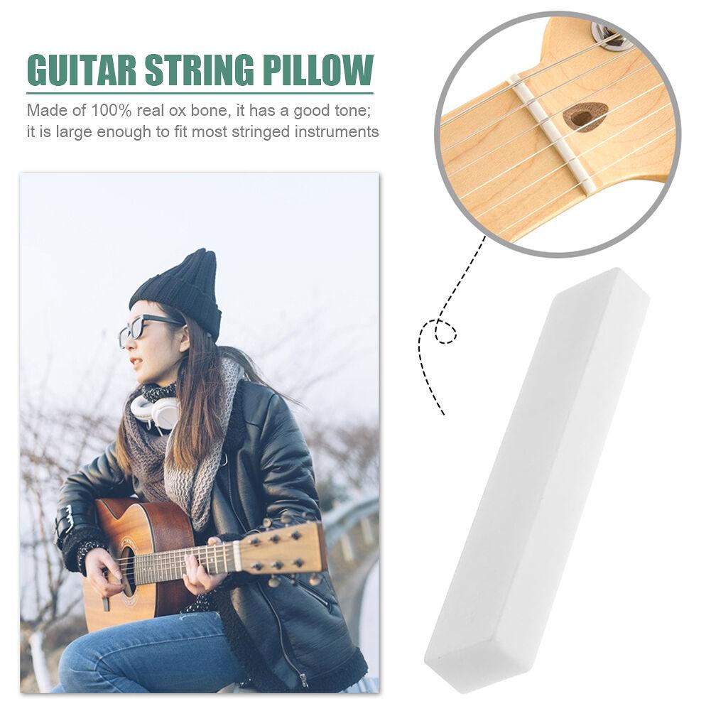 6x Guitar Buffalo Bone Blank Saddle+Nut Set for Classical Folk Guitar Parts