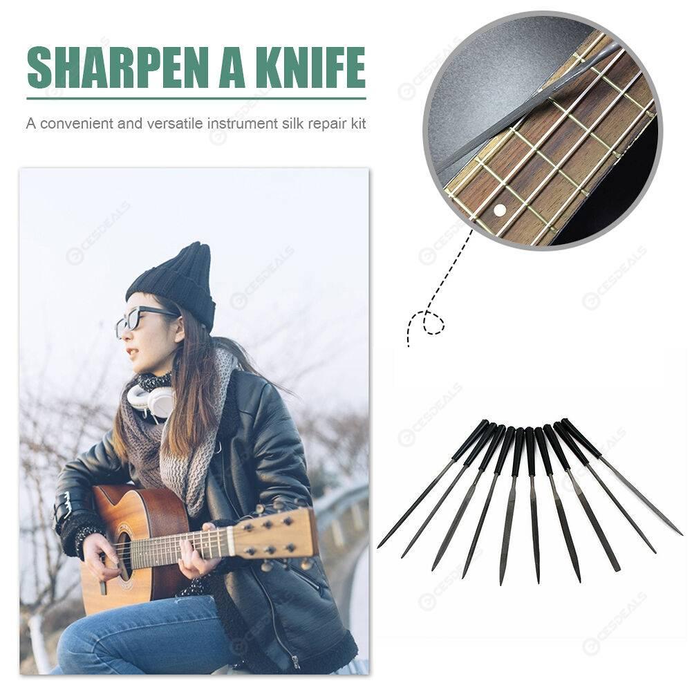 10pcs Carbon Steel Crowning File Guitar Fret Repair Tools for Ukulele Banjo