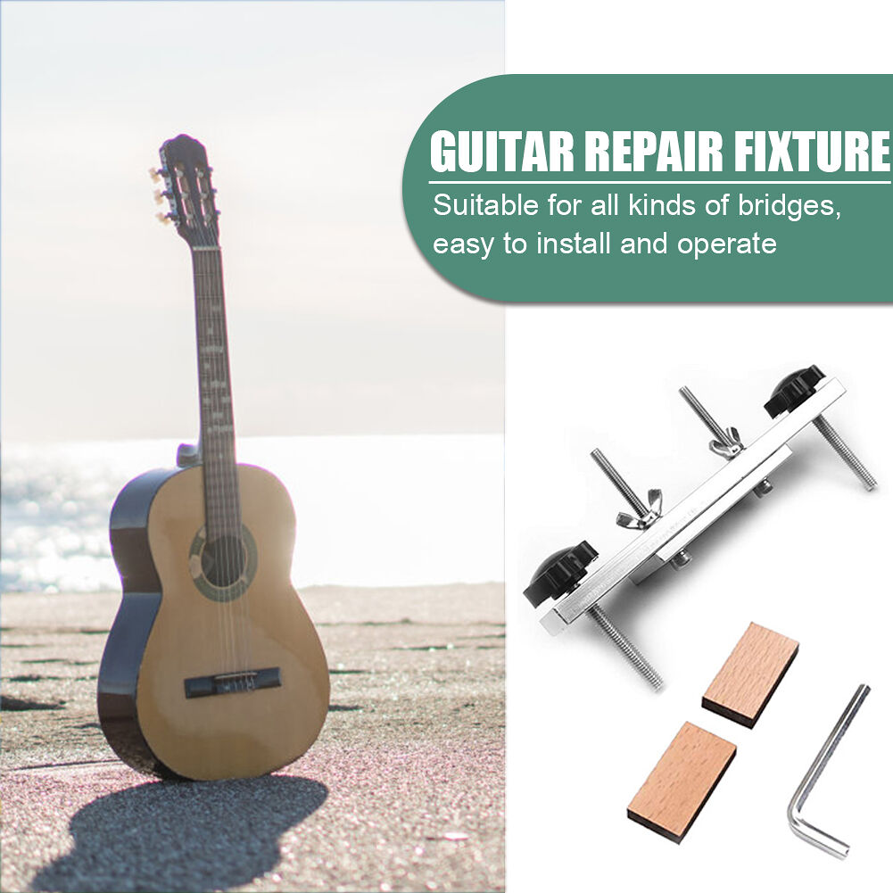 Stainless Steel Guitar Bridge Clamp Luthier Repair Tools with Washer Wrench