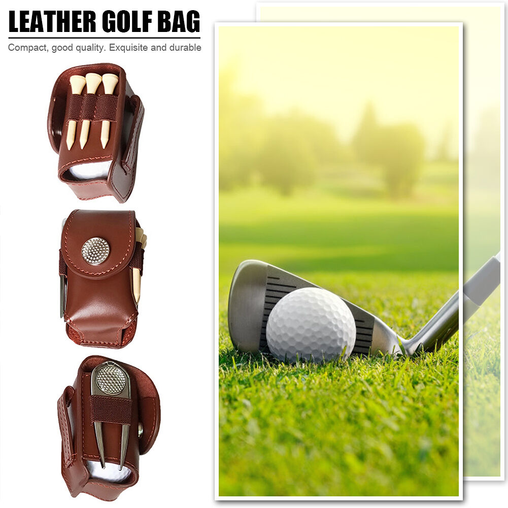 Cow Leather Golf Ball Waist Clip Bag Golf Accessories Holder Pouch (Brown)