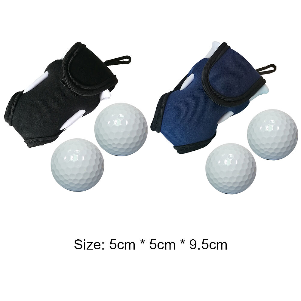 Neoprene Golf Ball Waist Clip Bag Outdoor Holder Pouch w/Balls Tees (Black)
