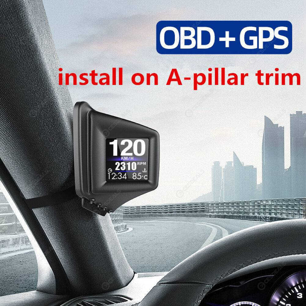 Car On-board Computer OBD 2 GPS HUD A-Pillar Trim Dash Speedometer Gauge