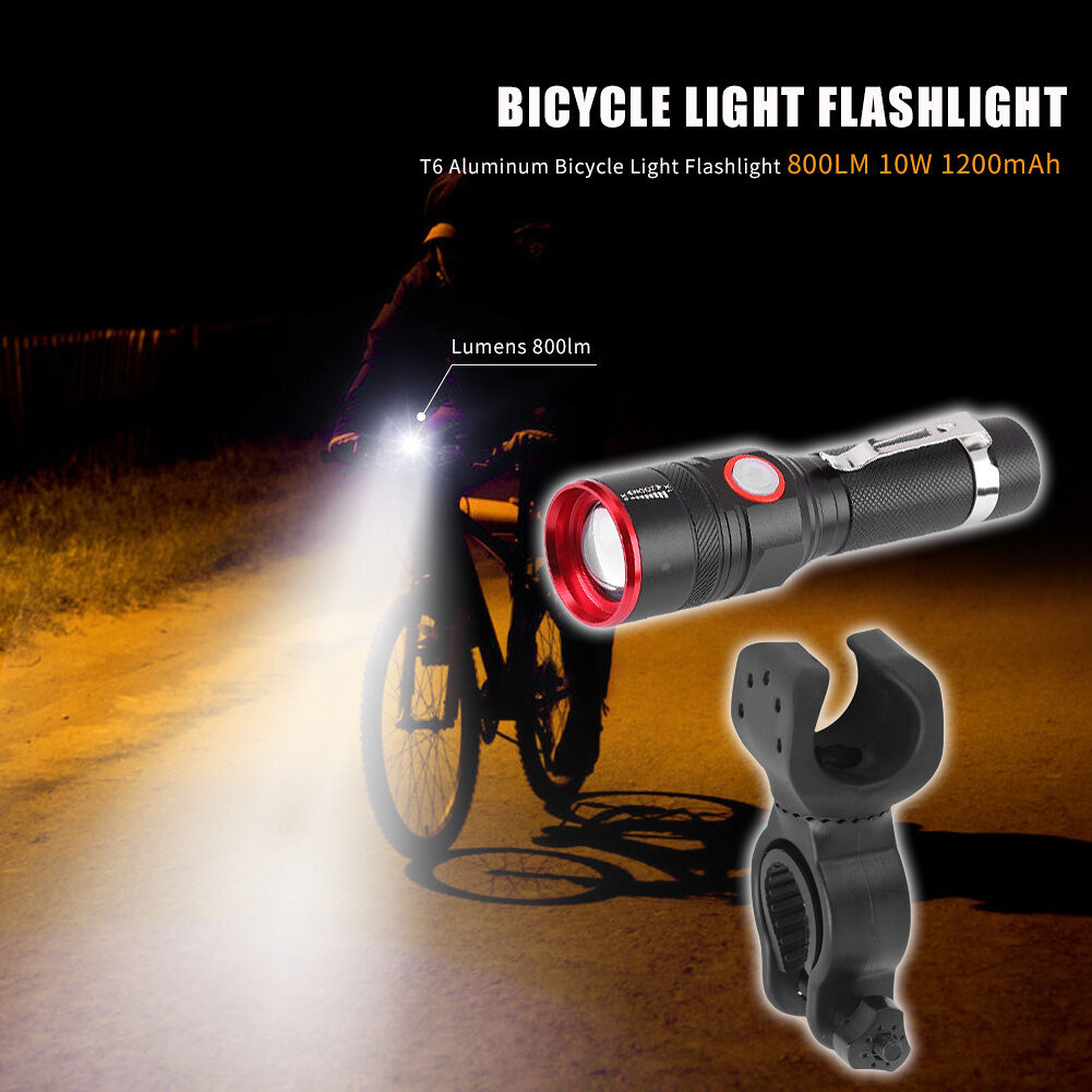 Telescopic Zoomable 800LM T6 LED Flashlight Outdoor Cycling Torch with Clip