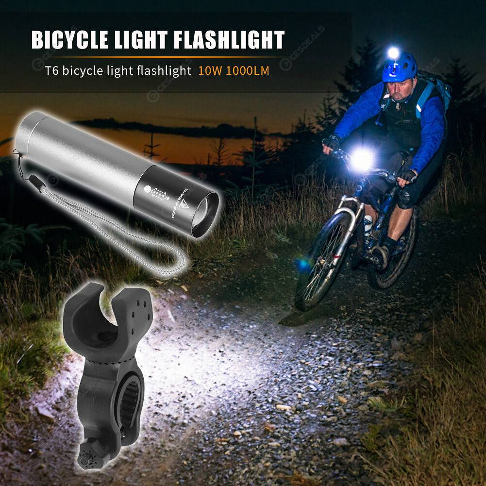 Outdoor Cycling Zoomable Torch Waterproof 1000LM T6 LED Pocket Flashlights