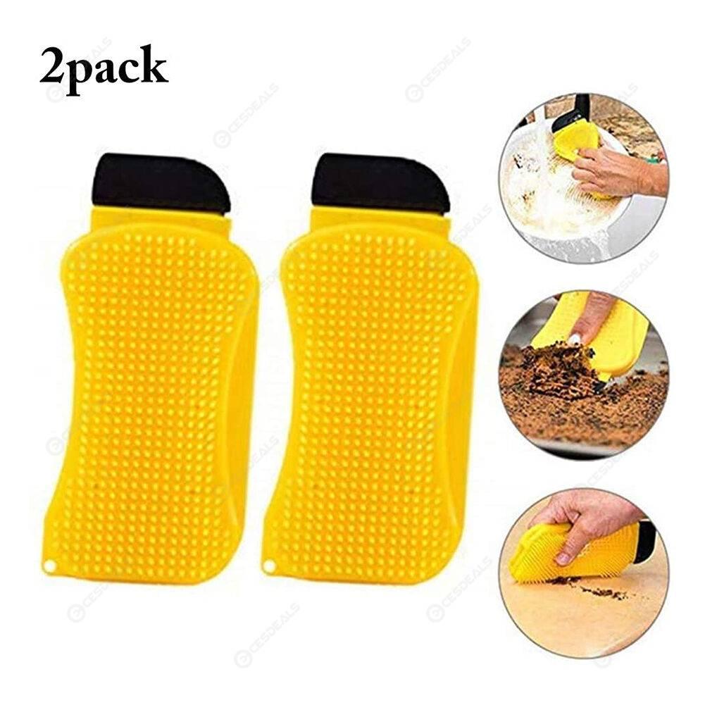 2x Kitchen Silicone Sponge Dish Brush Scraper with Soap Dispenser Yellow