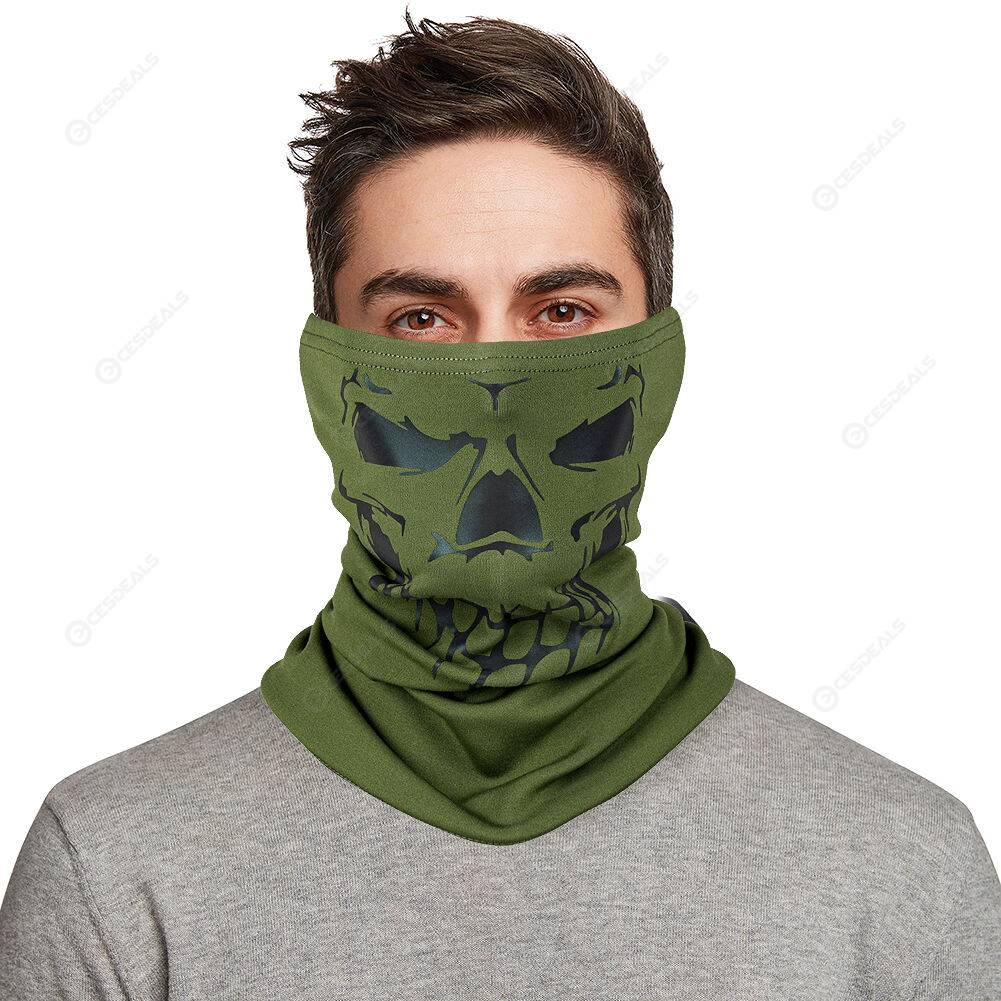 WEST BIKING Skull Tube Mask Reflective Fleece Outdoor Scarf (Army Green)