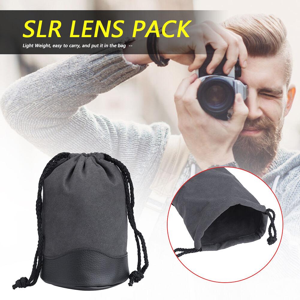 Drawstring DSLR Camera Lens Pouch SLR Lens Soft Protective Bag (1424)