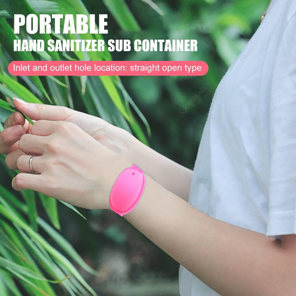 2x Kids Adult Waterproof Outdoor Hand Sanitizer Dispenser Bracelet (Red)