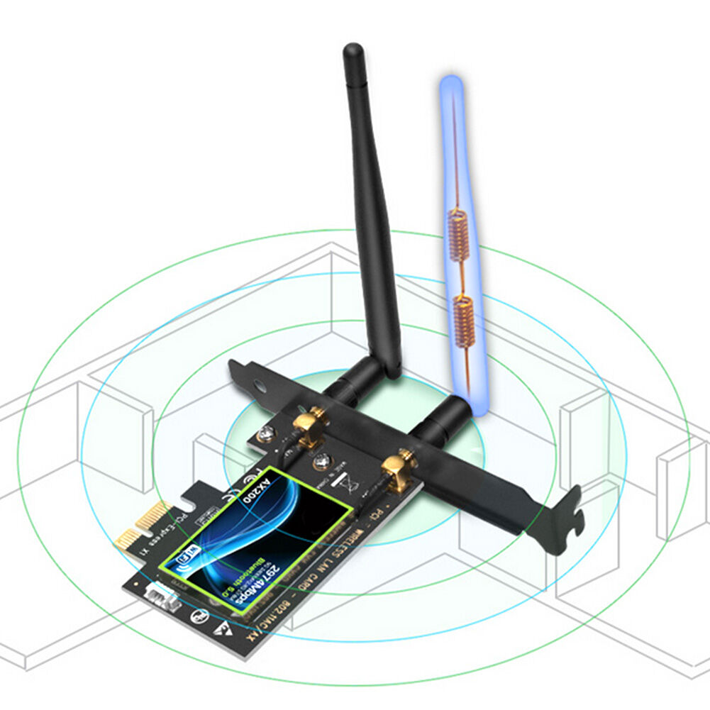 AX200 2974Mbps WiFi PCI-E Adapter Dual Band Bluetooth Receiver Network Card