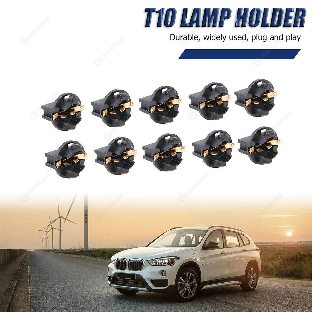 10x T10 Wedge Bulb Socket Twist Lock for Car Dash Instrument Cluster Light