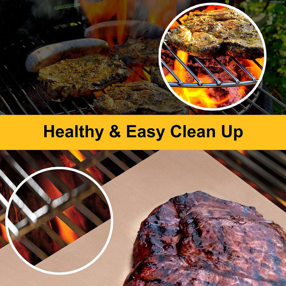 3pcs Washable Oil Proof Non-sticky BBQ Grill Mat Barbecue Plate Baking Pad