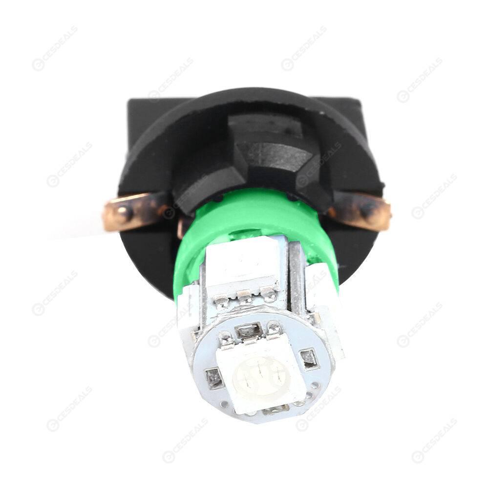 2pcs T10 SMD5050 5 LED Bulb w/ Socket for Instrument Panel Light (Green)
