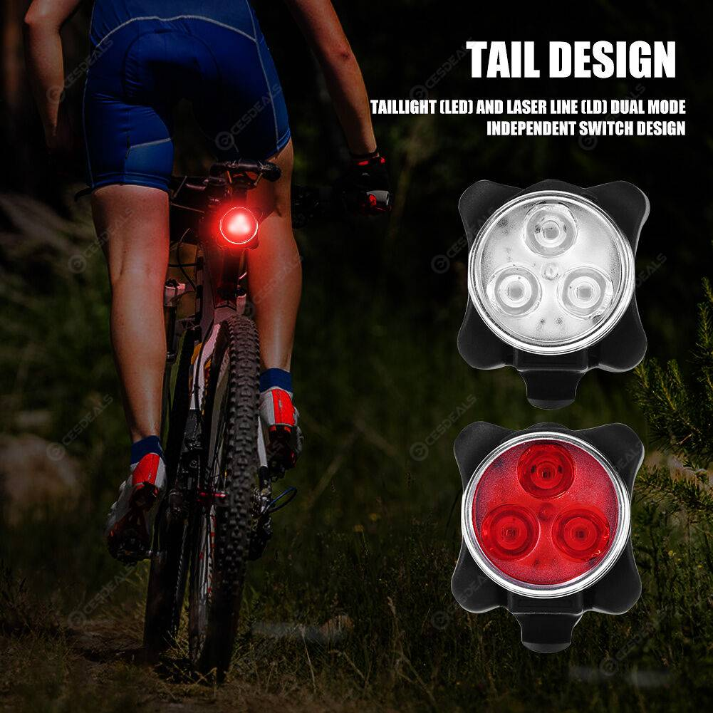 USB Rechargeable Bike Light Set 4 Modes Front Light Rear Tail Warning Lamp