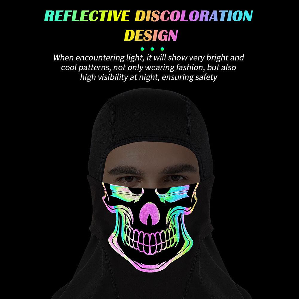Skull Reflective Balaclava Mask Fleece Outdoor Riding Bandana Scarf (Black)