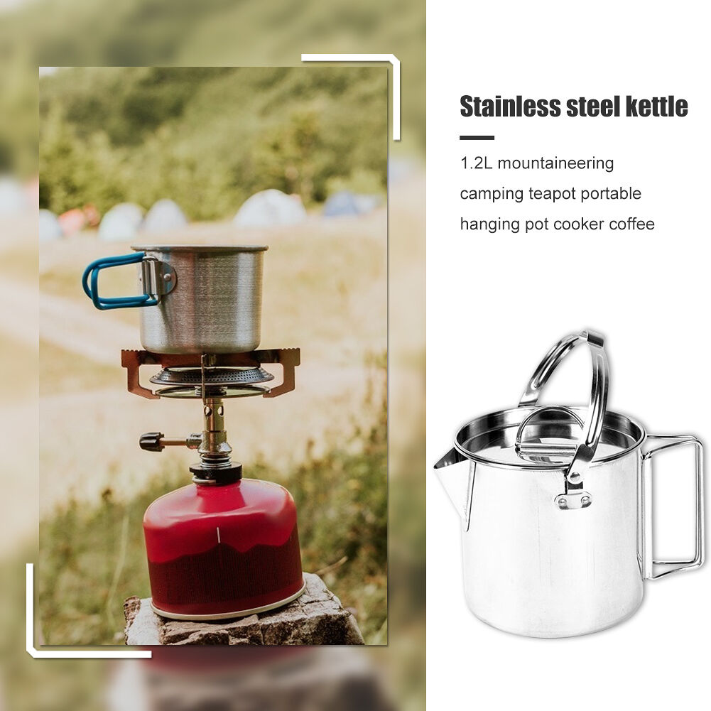 1.2L Stainless Steel Teapot Outdoor Camping Hiking Cooking Kettle with Lid