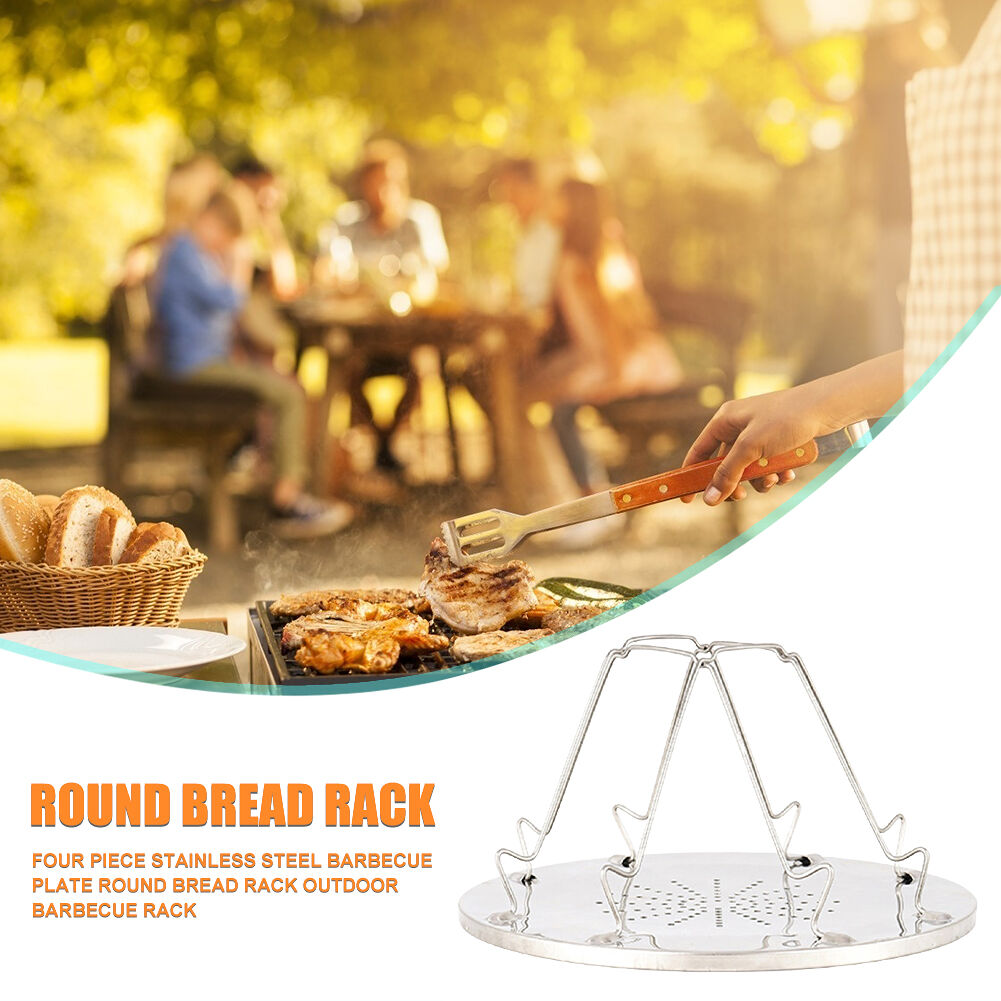 4 Slice Outdoor Camping BBQ Toaster Tray Foldable Bread Toast Rack Grill