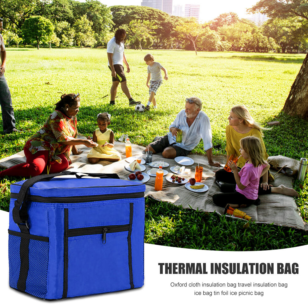 10L Waterproof Lunch Bags Outdoor Camp Picnic Insulated Bento Case (Blue)