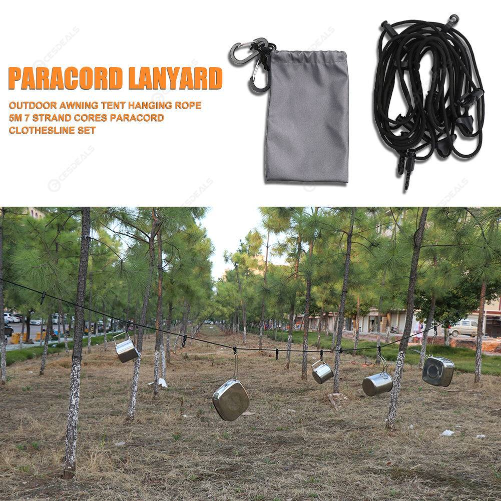 Outdoor Awning Tent Hanging Rope 5m 7 Strand Cores Paracord Clothesline Set