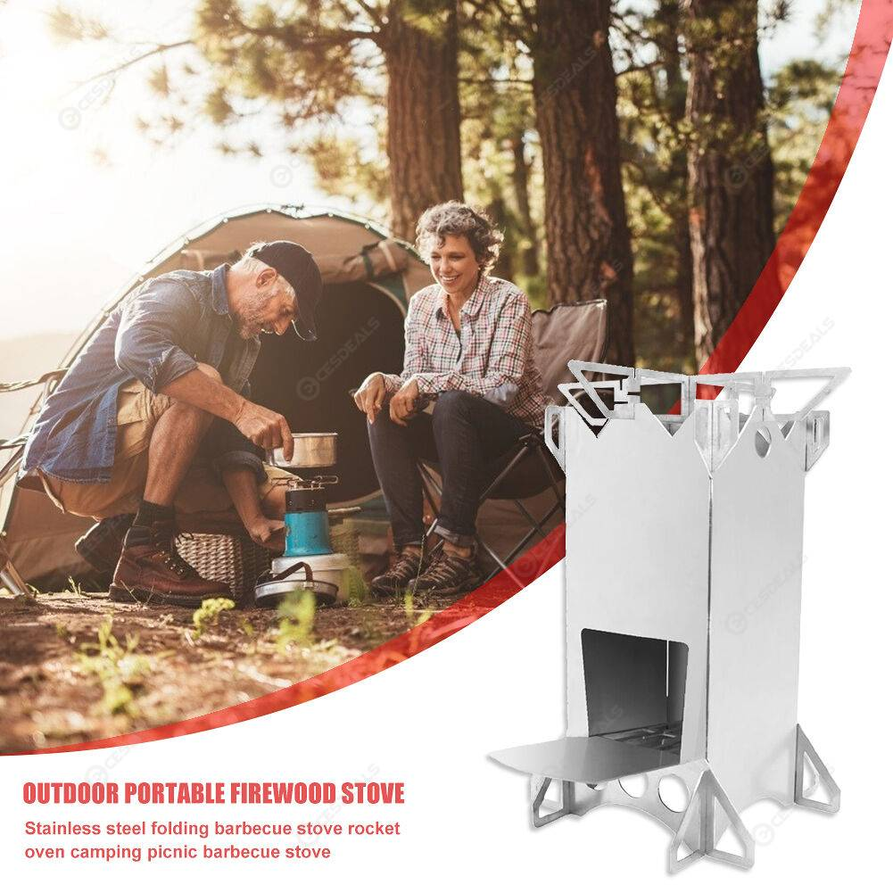 Outdoor Camp Wood Burning Rocket Stove Folding Backpacking Cooking Furnace