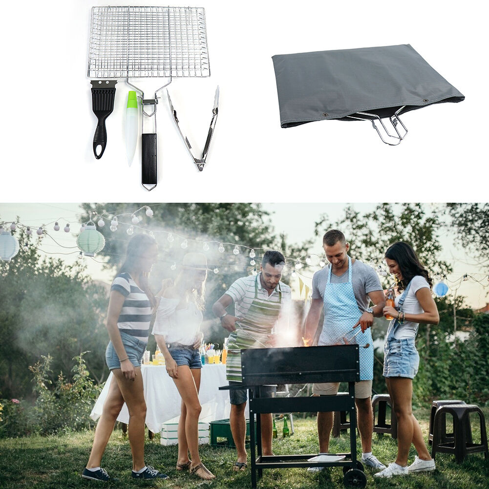 4pcs BBQ Tools Set Non-stick Grill Mesh Tongs Brush Barbecue Cooking Kits