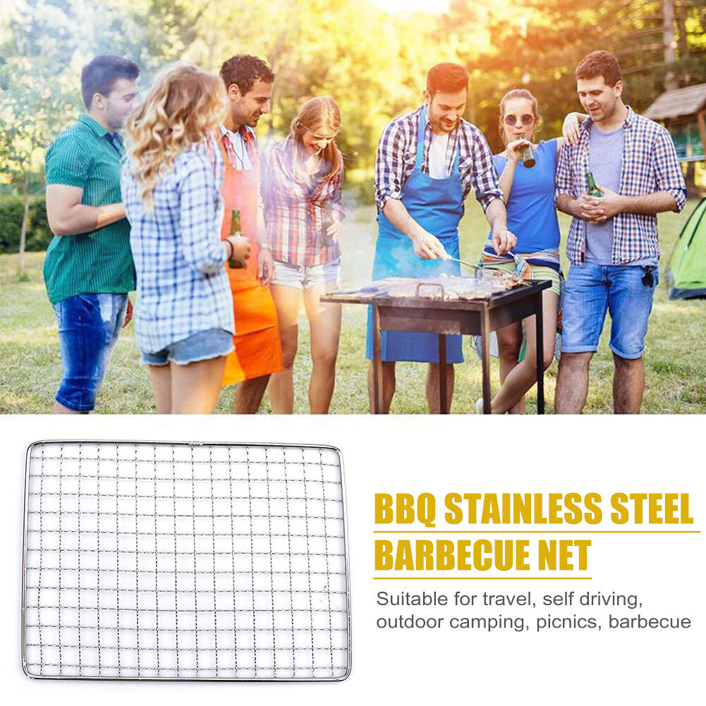 Non-stick Barbecue Grill Mesh Grid Shape BBQ Mat Pad for Outdoor (S)