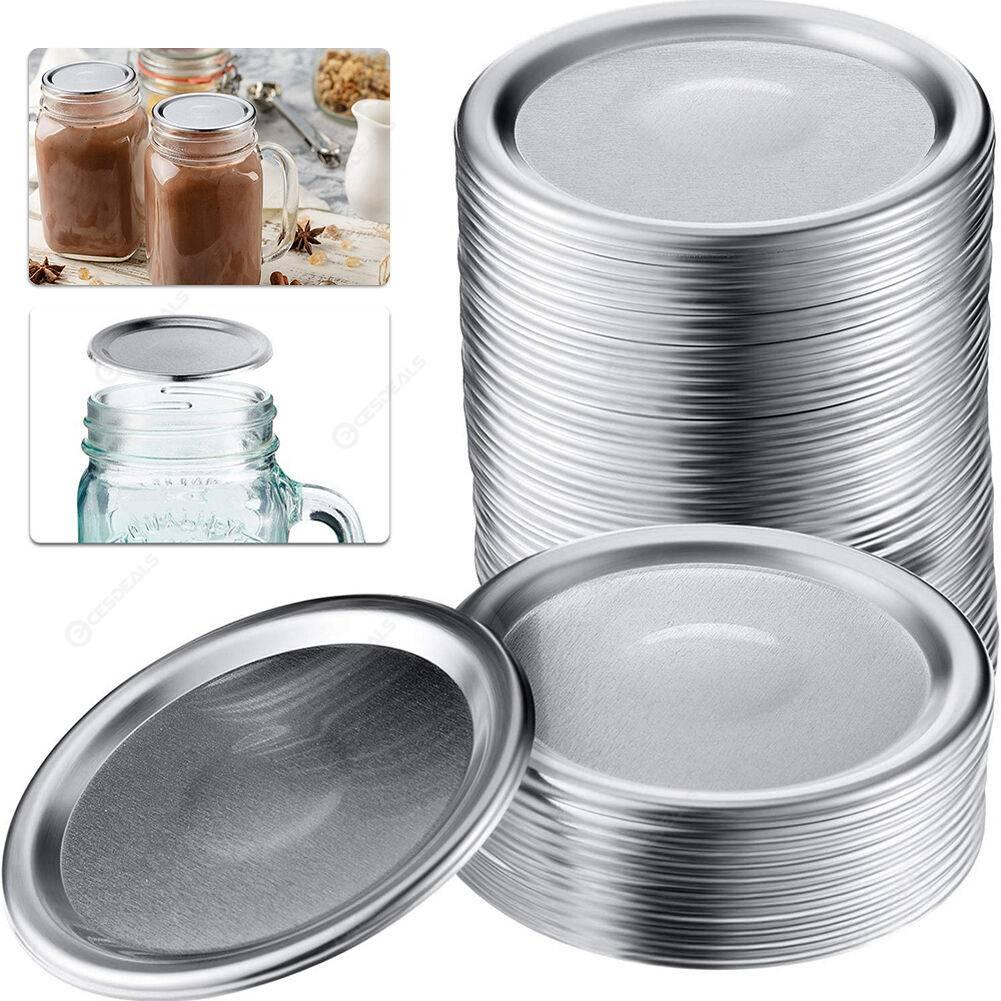 12pcs Mason Jar Lid Tinplate Sealing Wide Mouth Food Mason Can Cover (G)
