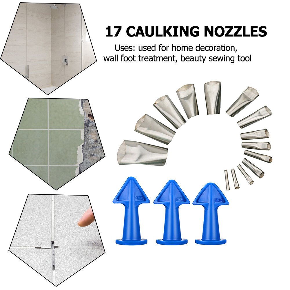 17pcs Silicone Remover Caulk Finisher Sealant Glass Floor Cleaning Nozzles