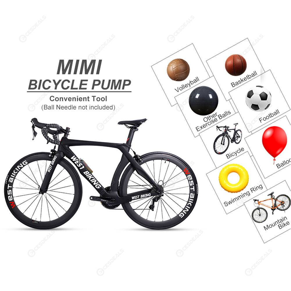 Portable Mini Bicycle Hand Air Pump Ball Tire Inflator 110PSI Cycling Pump