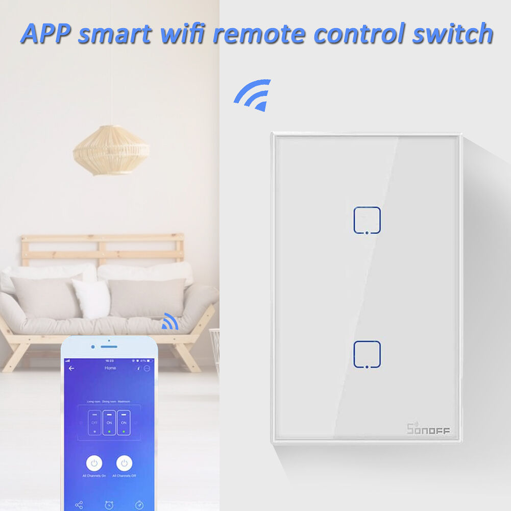 Sonoff TX T2 2 Gang Remote Control WiFi Touch Wall Light Smart Switch US